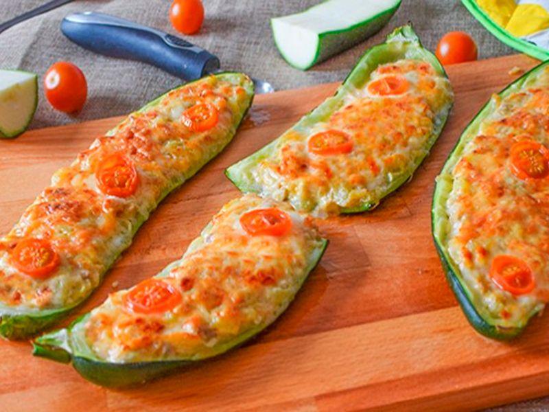 calabacines rellenos de atún y queso philadelphia