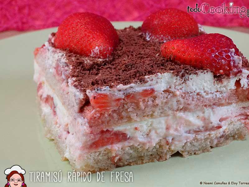 tiramisú rápido de fresas