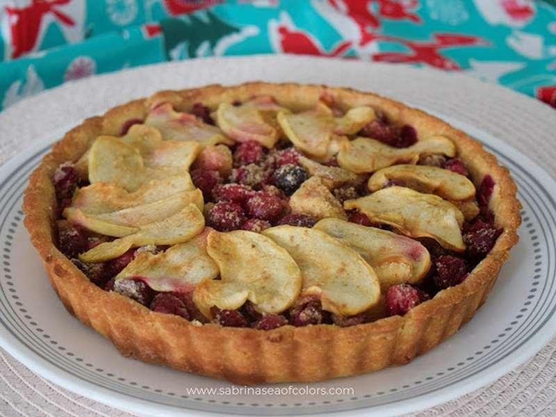 Tarta de arándanos rojos y manzana